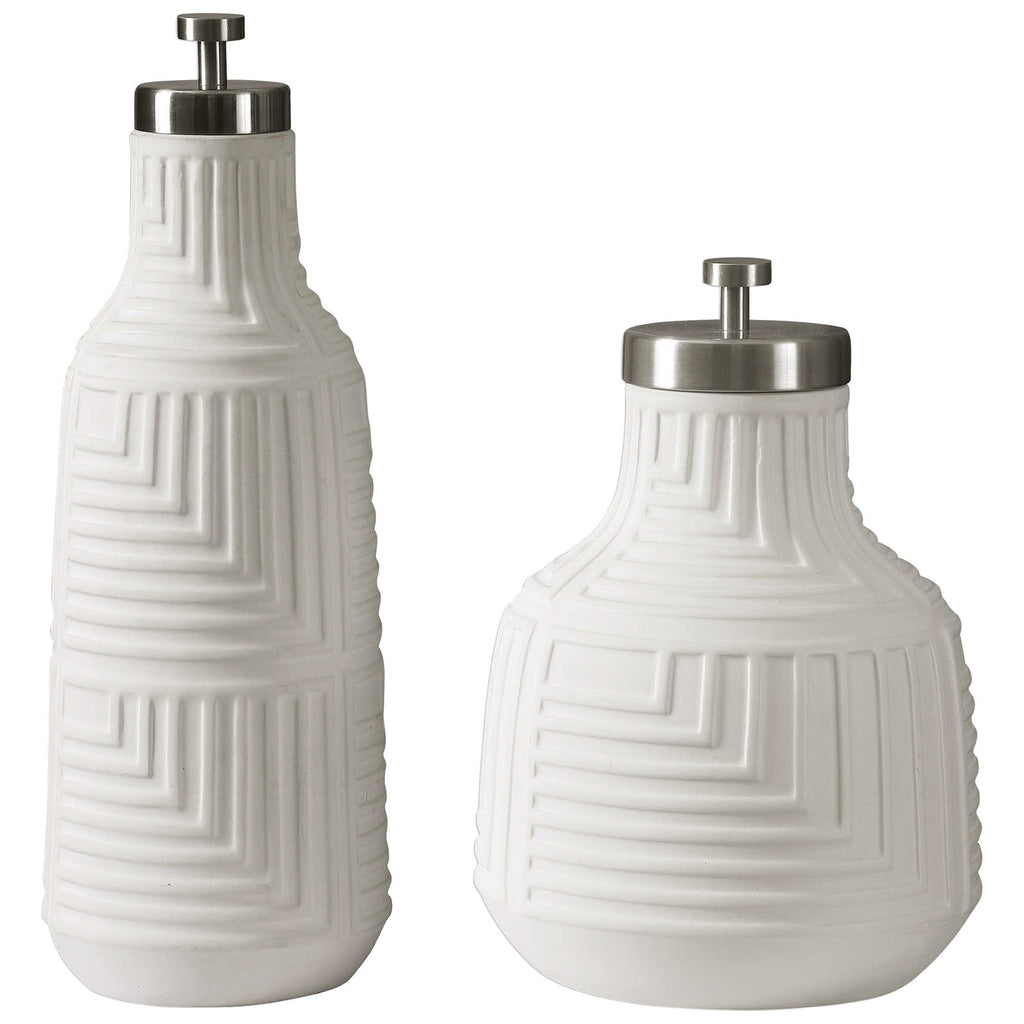 Chandran Matte White Containers Set of 2