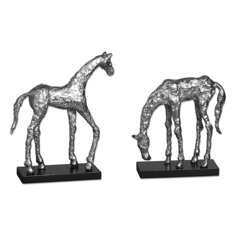 Let's Graze Horse Statues, Set of 2