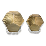Pentagon Coffee Bronze Cubes, Set of 2