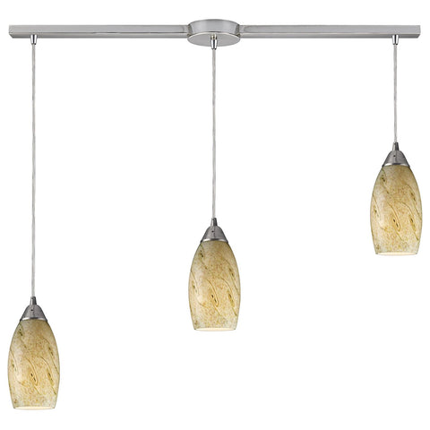 Galaxy 3-Light Linear Pendant Fixture in Satin Nickel with Caramel Glass