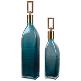 Annabella Teal Glass Bottles, Set of 2