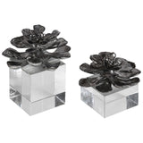Indian Lotus Metallic Silver Flowers Set of 2