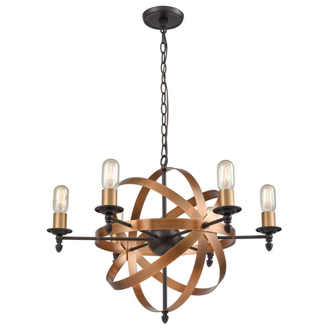 Kingston 6-Light Chandelier in Oil Rubbed Bronze and Brushed Antique Brass