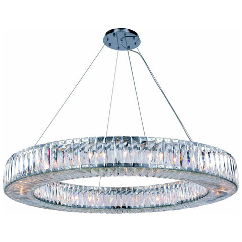 Cuvette 24-Light 43-Inch Chrome Chandelier with Clear Royal Cut Crystal