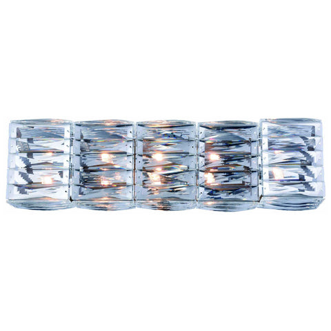 Cuvette 5-Light Chrome Vanity Wall Sconce in Clear Royal Cut Crystal