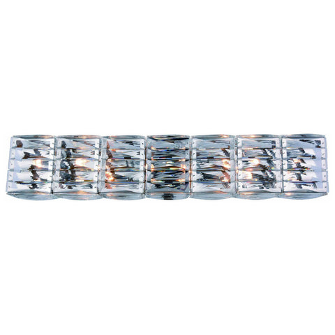 Cuvette 8-Light Chrome Vanity Wall Sconce in Clear Royal Cut Crystal