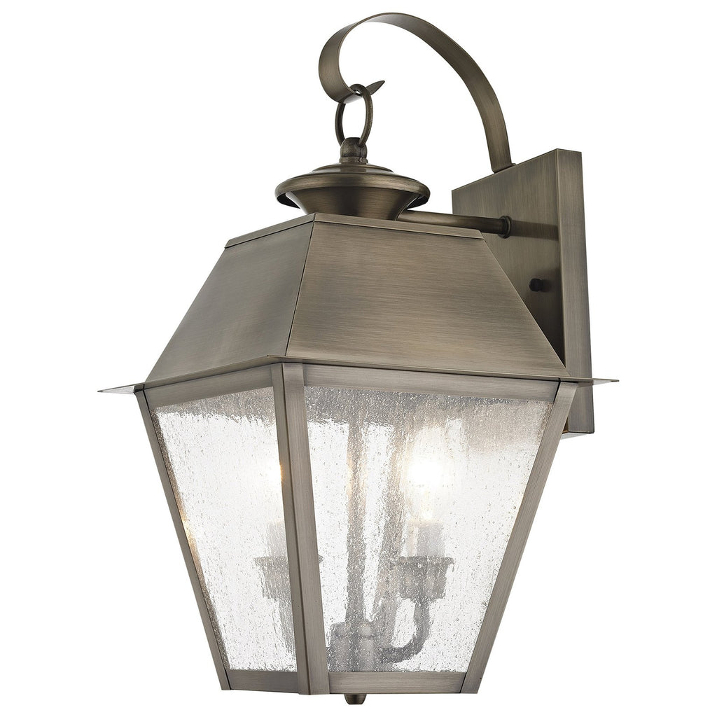 Mansfield 3-Light Vintage Pewter Outdoor Wall Lantern