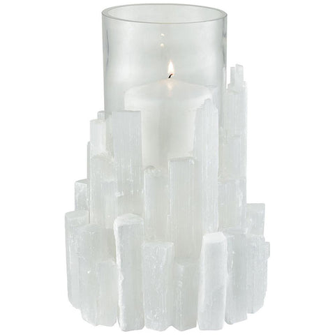 Shiverpeak Candle Holder in Natural Rock Crystal with Clear Glass