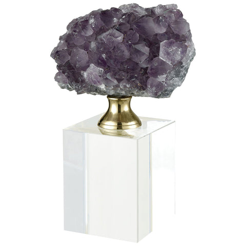 Roque Opera Decorative Accessory in Natural Purple Stone with Clear Crystal and Brass