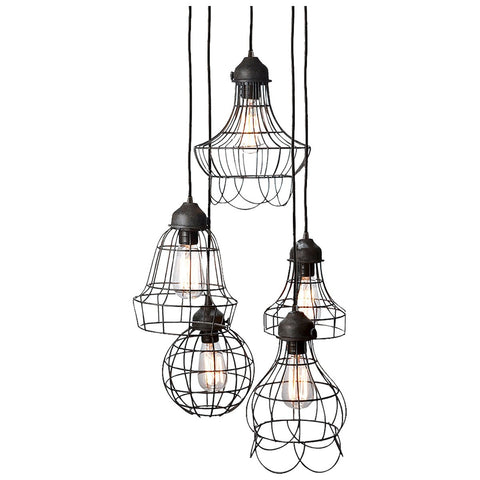 Wire 5-Light Pendant in Brown