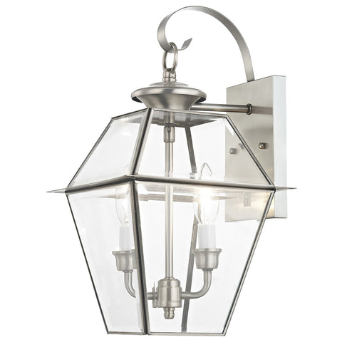 Westover 2-Light Brushed Nickel Outdoor Wall Lantern