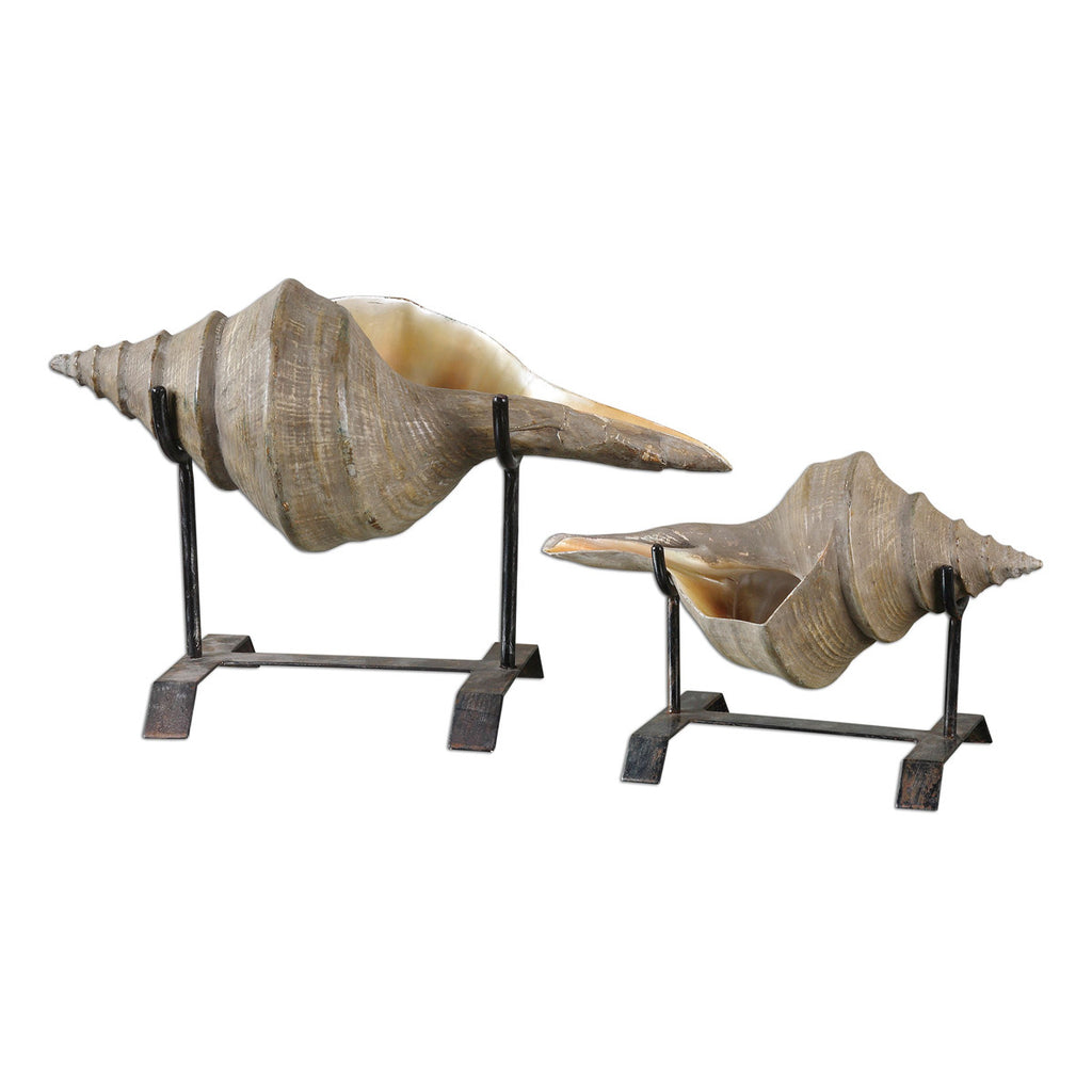 Conch Shell Sculpture, Set of 2