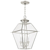 Westover 3-Light Brushed Nickel Outdoor Chain-Hang Lantern