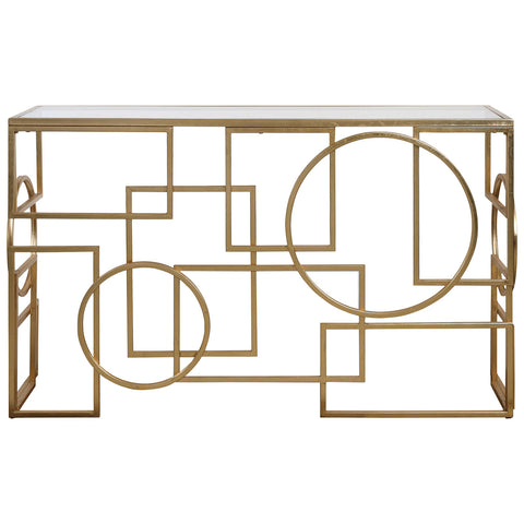 Metria Console Table in Antiqued Gold Leaf