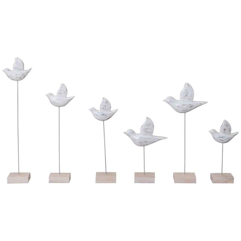 Wooden Bird in Natural, Set of 6