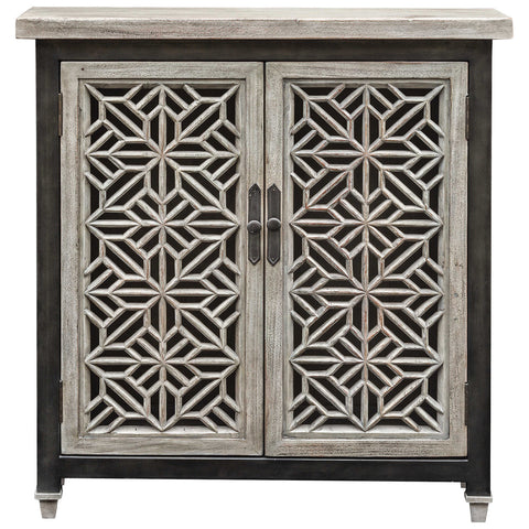 Branwen Aged Accent Cabinet in White and Light Gray