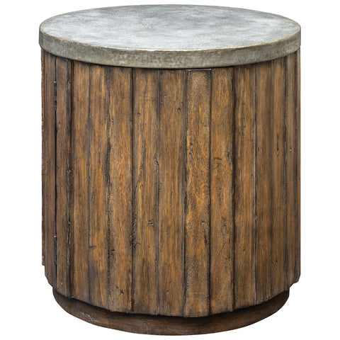 Maxfield Wooden Drum Accent Table in Fruitwood Stain