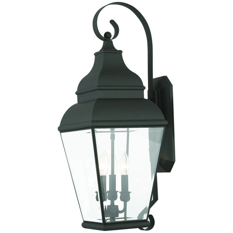 Exeter 3-Light Black Outdoor Wall Lantern