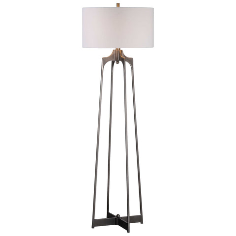Adrian Modern Floor Lamp in Aged Gun Metal