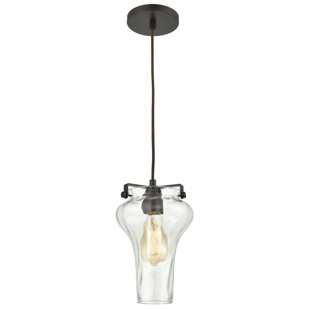 Volus 1-Light Mini Pendant in Oil Rubbed Bronze with Wavy Glass
