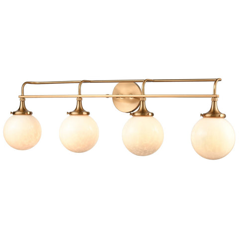 Beverly Hills 4-Light Vanity Light in Satin Brass with White Feathered Glass