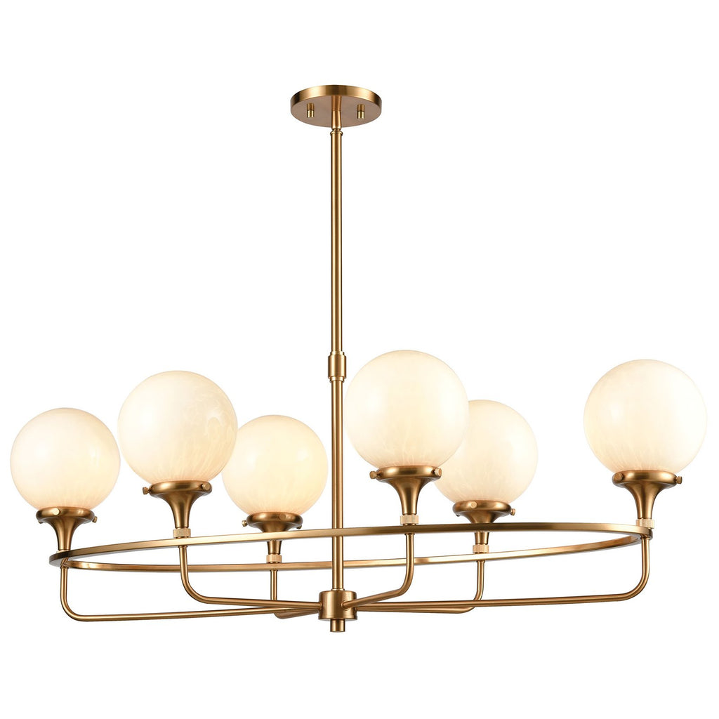Beverly Hills 6-Light Island Light in Satin Brass with White Feathered Glass