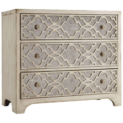 Fretwork Chest in Whites, Creams and Beiges