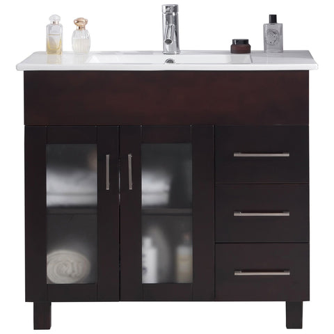 "Brown, Espresso, Grey or White 36"" Single Vanity with Countertop - Nova Collection"