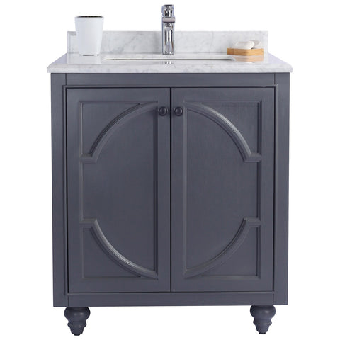 "Grey or White 30"" Single Vanity with Marble Countertop - Odyssey Collection"
