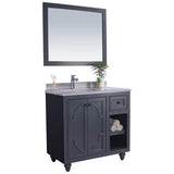 "Grey or White 36"" Single Vanity with Marble Countertop - Odyssey Collection"