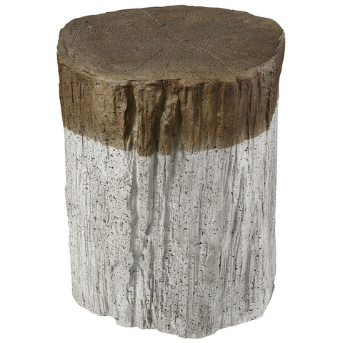 Sutter's Fort Stool in Whitewash with Natural Bark