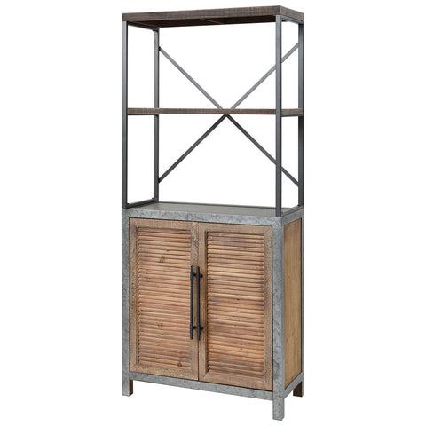 Badlands Drifted Oak with Aged Iron 2-Door Wood and Metal Bookcase