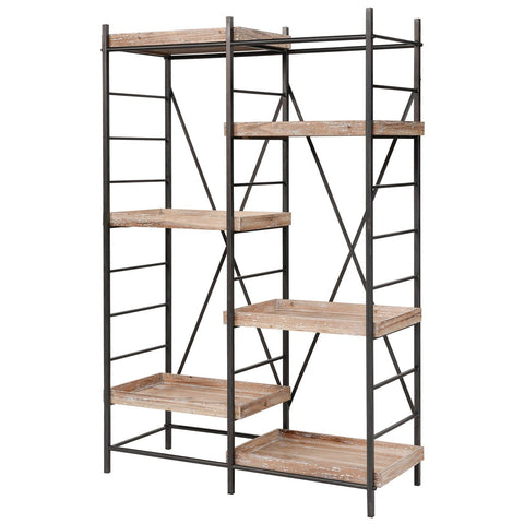 Tonka Staggered Shelving Unit in Natural Wood with White Antique and Bronze