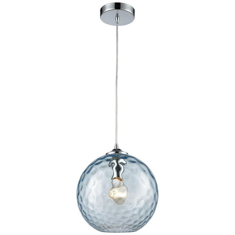 Watersphere 1-Light Pendant in Polished Chrome with Hammered Glass