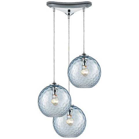 Watersphere 3-Light Triangle Pan Fixture in Polished Chrome with Hammered Glass