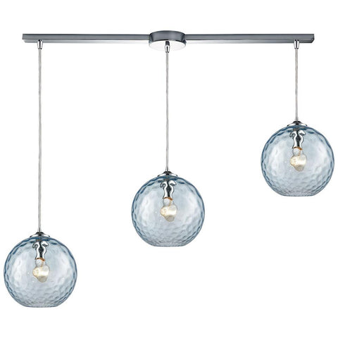 Watersphere 3-Light Linear Bar Fixture in Polished Chrome with Hammered Glass