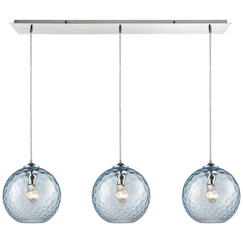 Watersphere 3-Light Linear Pan Fixture in Polished Chrome with Hammered Glass