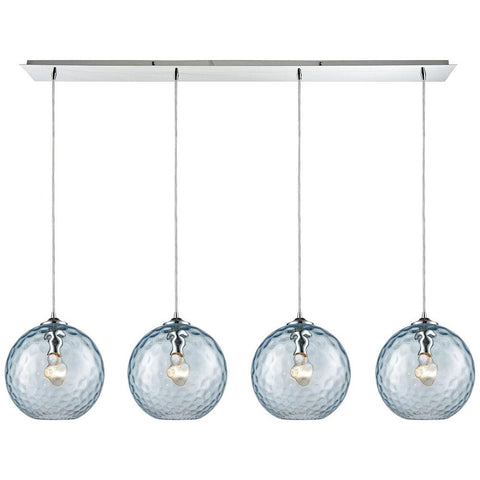 Watersphere 4-Light Linear Pan Fixture in Polished Chrome with Hammered Glass