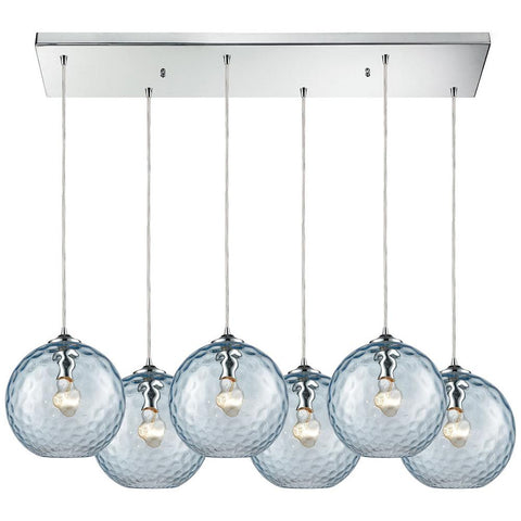 Watersphere 6-Light Rectangle Fixture in Polished Chrome with Hammered Glass