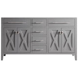 "White, Espresso, Grey, or Brown 60"" Double Vanity Base - Wimbledon Collection"