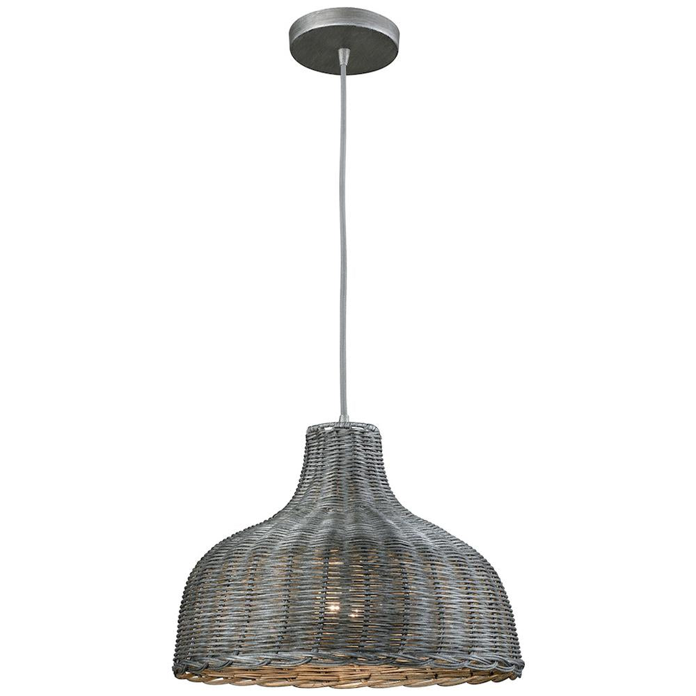 Pleasant Fields 1-Light Pendant with Graphite Hardware and Gray Wicker Shade