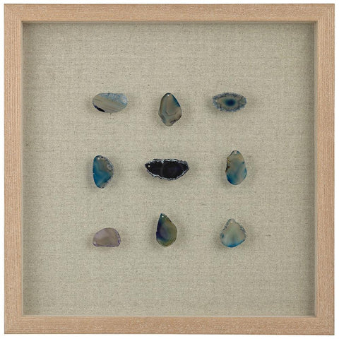 Blue Agate Shadow Box in Blue with Agate and Wood