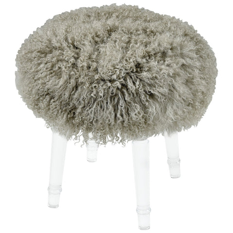Best in Show Light Grey Genuine Fur Mohair Stool with Acrylic Legs