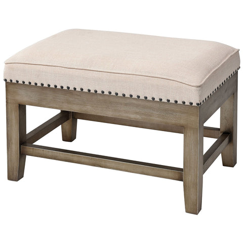 Midnight Cowboy Stool in Cream Linen and Silver with Antique