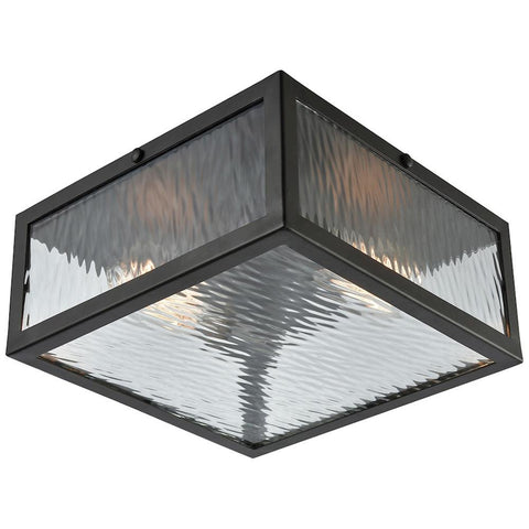 Placid 2-Light Flush with Clear Ripple Glass
