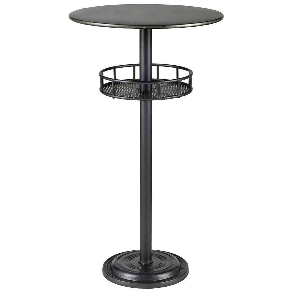 Parton Bar Table in Dark Pewter and Galvanized Steel