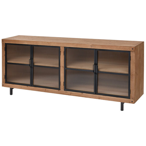 Institution Media Unit in Natural Wood Tone and Black
