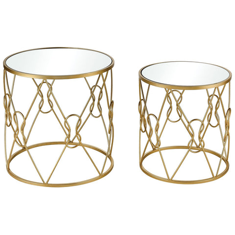 Mental Note Accent Tables in Gold and Clear (Set of 2)