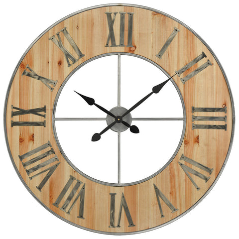 Foxhollow Wall Clock in Natural Oak Stain with Raw Steel