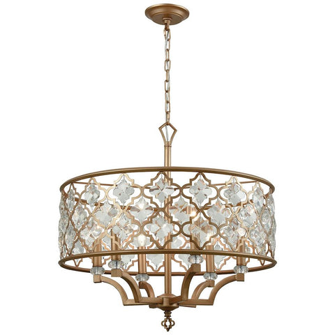 Armand 6-Light Chandelier in Matte Gold With Clear Crystal